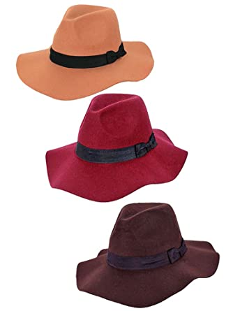 327a7e9d780be Luxury Divas 3-Pack Wide Brim Wool Panama Style Floppy Hats at ...