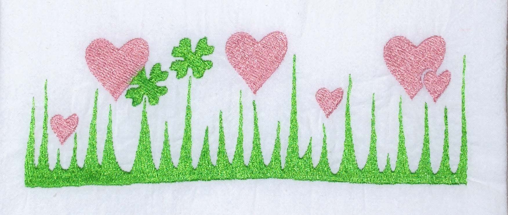 Embroidered Flour Sack Towel - Vintage Pyrex Pattern - Lucky In Love - 26'' x 26'' Kitchen Dish Towel