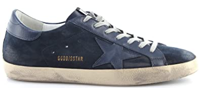Golden Goose Chaussures Hommes Sneakers Superstar Bleu Suede Navy Star New Italy