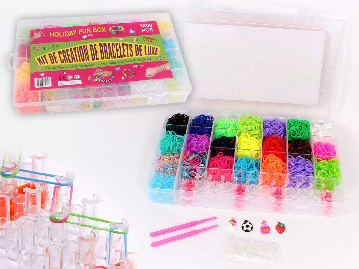 Rainbow Rubber Bands Set 12,500 Loom Bands Kits 500 Clips 400+ FEPITO 13,400