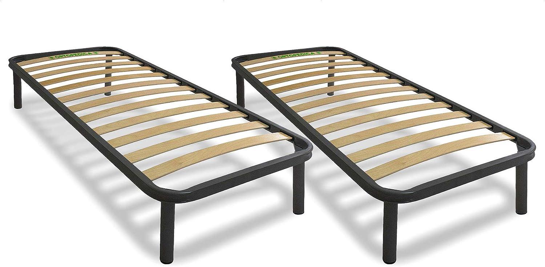 Cortassa - 2 Somier somier ortopédico KOS Cama Individual 80x190 h35 con 4 Patas Desmontables, Estructura portante de Acero