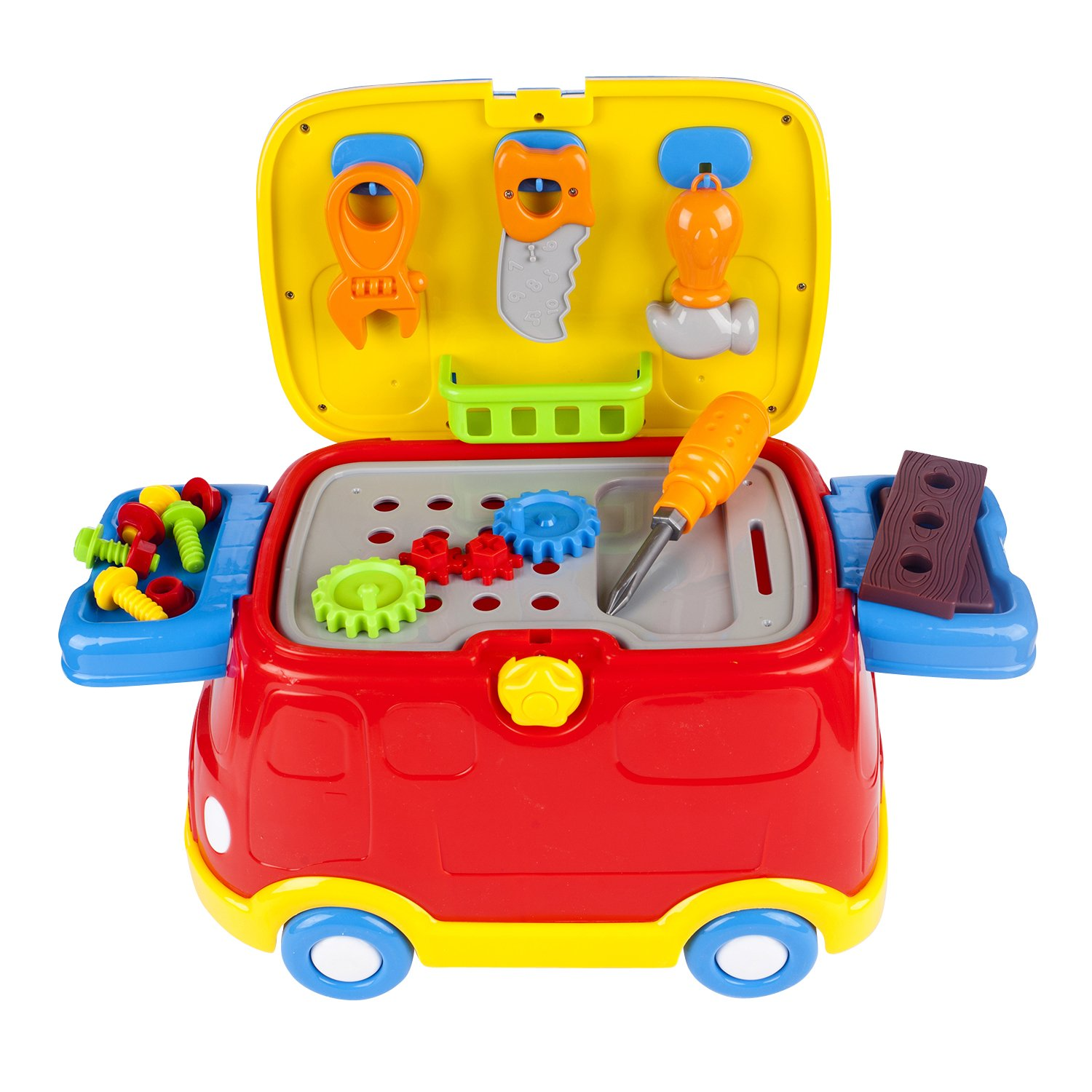 Safe Educational Learning DIY Tool Bus Tools Workbench Toy Set with Easy Storage with Accessories and Free Wheels Purplecart Pretend Play Tool Set Kids Tool Car Ride On Vehicle