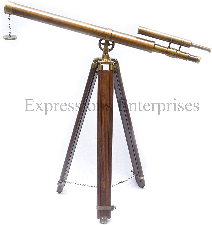 Height:65 Inches Double Barrel Tube Navy Griffith Antique Tripod Telescope Double Barrel Nautical Decorative U.S
