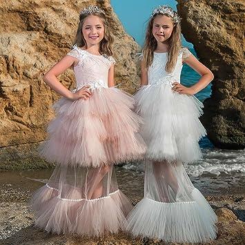 Bab&Luoli niñas Princesa falda larga Flor niñas vestidos boda baby pink falda falda encaje,azul