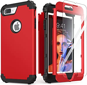 iPhone 8 Plus Case, iPhone 7 Plus Case with Tempered Glass Screen Protector, IDweel 3 in 1 Shockproof Slim Hybrid Heavy Duty Hard PC Cover Soft Silicone Rugged Bumper Full Body Case, Red