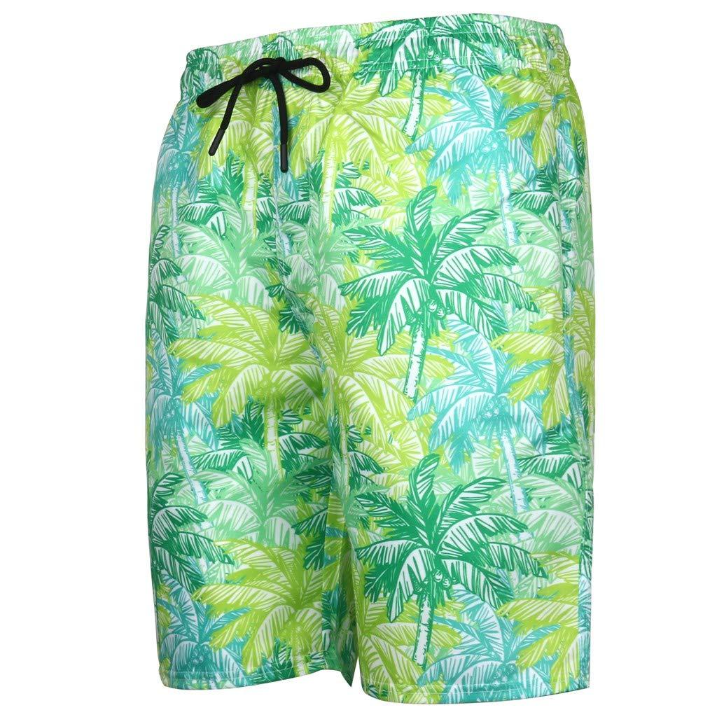 NUWFOR Men's Summer Fashion 3D Printed Shorts Recreational Sports Beach Pants(Green,US M Waist:32.68'')