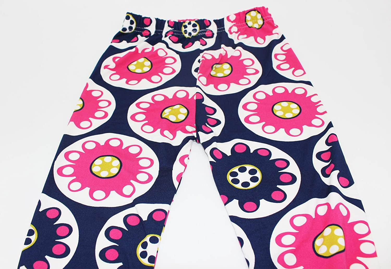Yaobabymu 3-Pack Girl Pants Stretch Printing Flower Toddler Kids Classic Girls Leggings