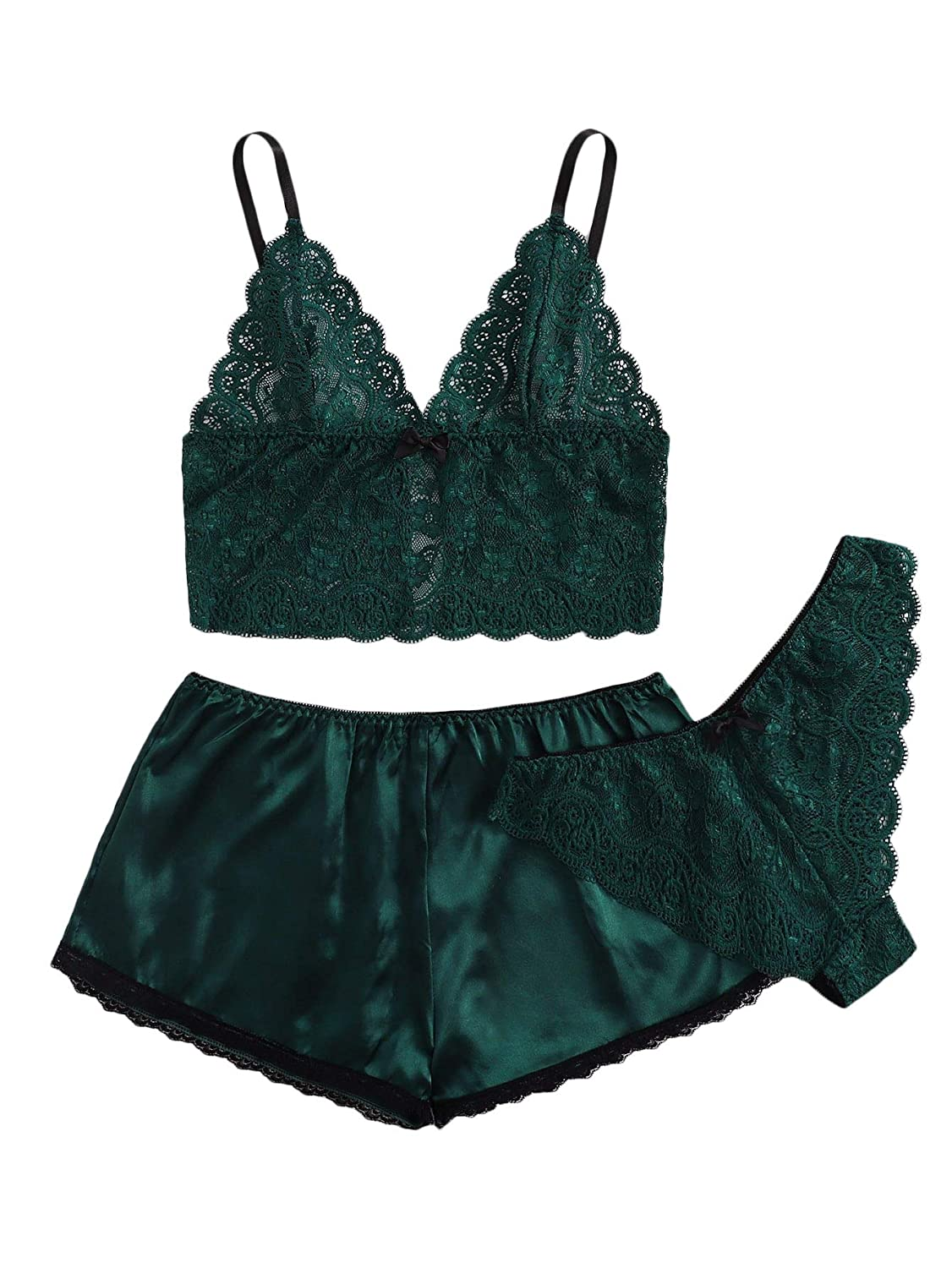 Army Green SweatyRocks Women's Lace Cami Top with Shorts with Panties 3 Piece Set Sexy Lingerie Pajama Set Sleepwear