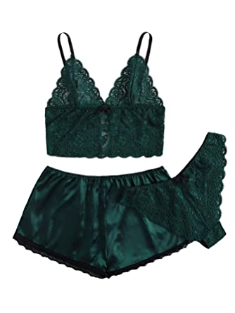 9f8c094d8116 SweatyRocks Women s Lace Cami Top with Shorts with Panties 3 Piece Set Sexy Lingerie  Pajama Set