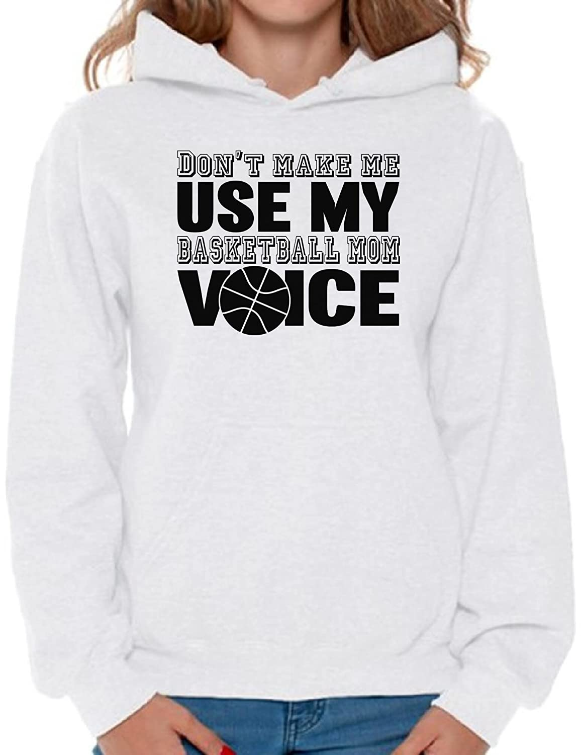 Awkward Styles Womens Dont Make Me Use My Basketball Mom Voice Graphic Hoodie Tops Black Sport Mom