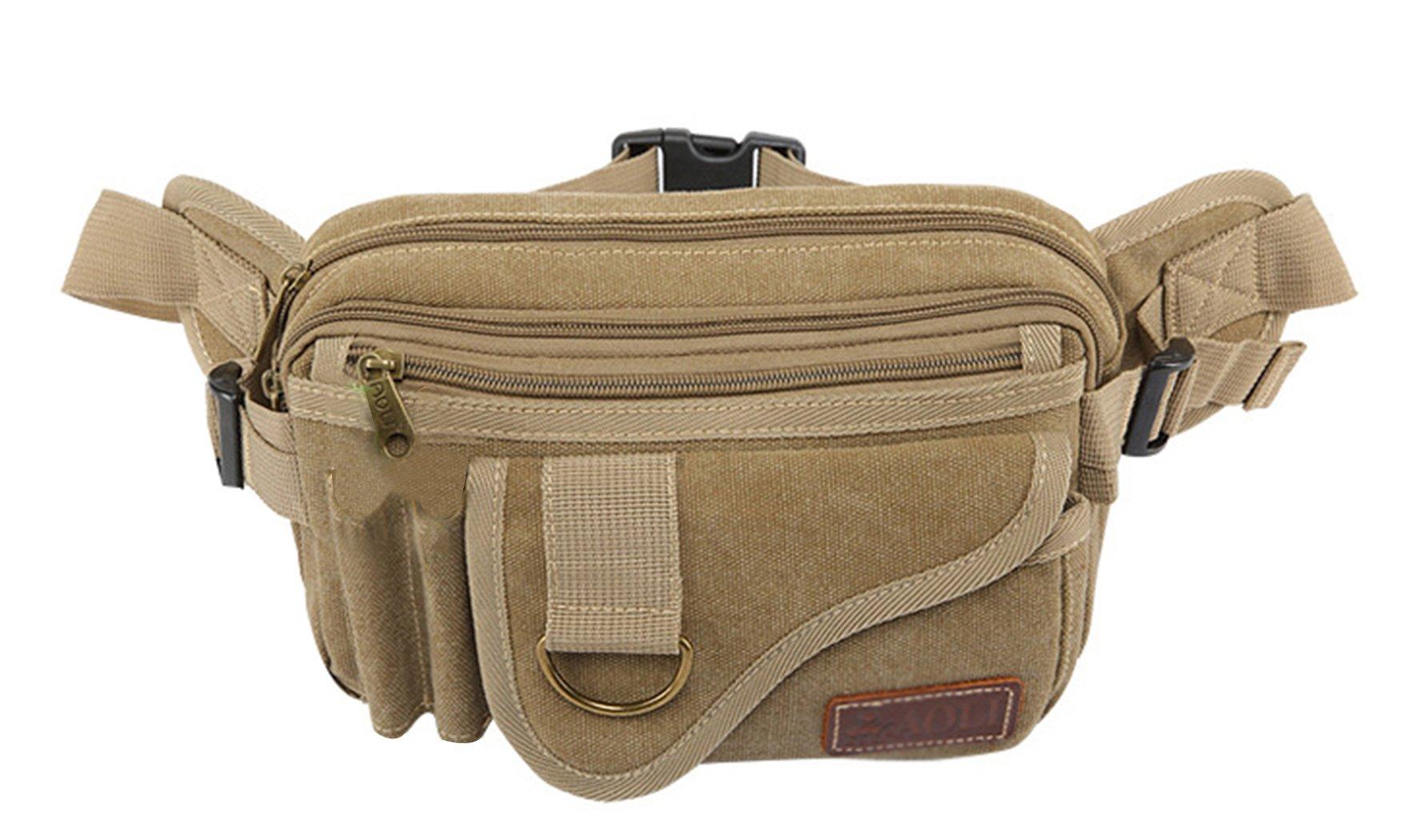 JiaYou Unisex Sports Waist Bag Fanny Hip Pack Bum Bag(Khaki A,3L)