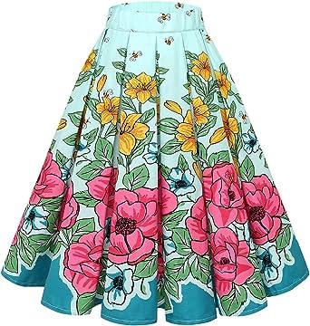 Bridesmay Falda Plisada Estampada Floral/a Lunares Vintage de Años ...