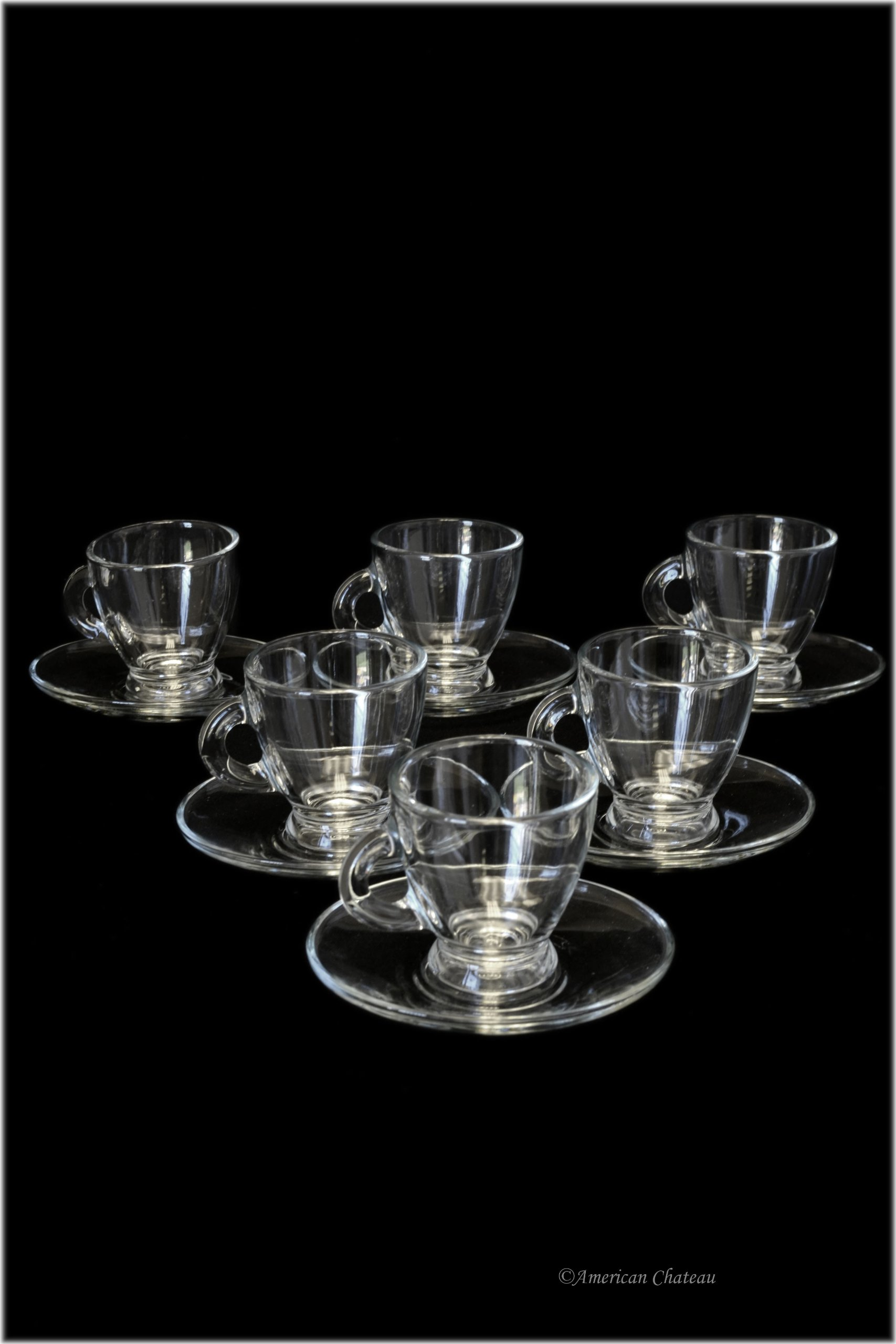 Set of 6 Glass 2.5oz Demitasse Espresso Cups Glasses with Saucers