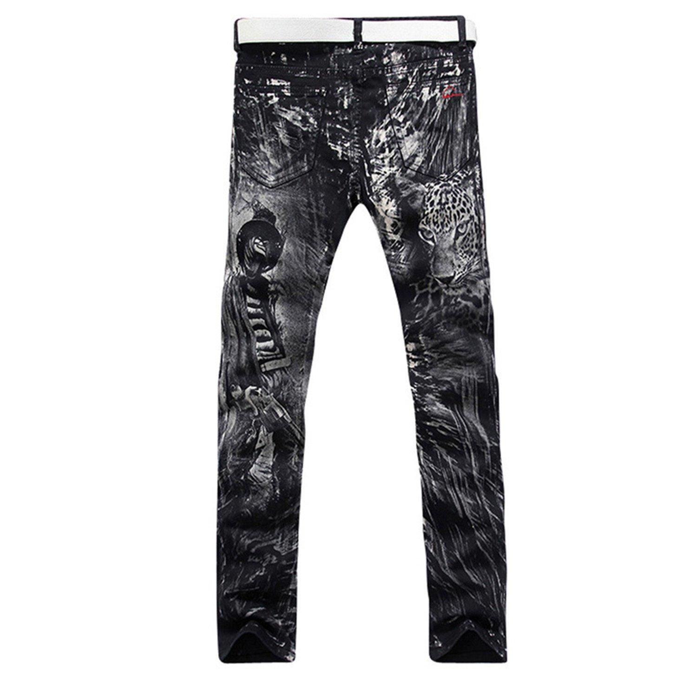Phillip Dudley New Fashion Straight Leg Jeans Long Men Printed Denim Pants Cool Cotton Designer Brand Trousers
