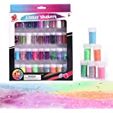 TBC The Best Crafts 36 Glitter Shaker Jar Set, Extra Fine/Metallic Sparkling Strips/Holographic Cosmetic/Sequins…