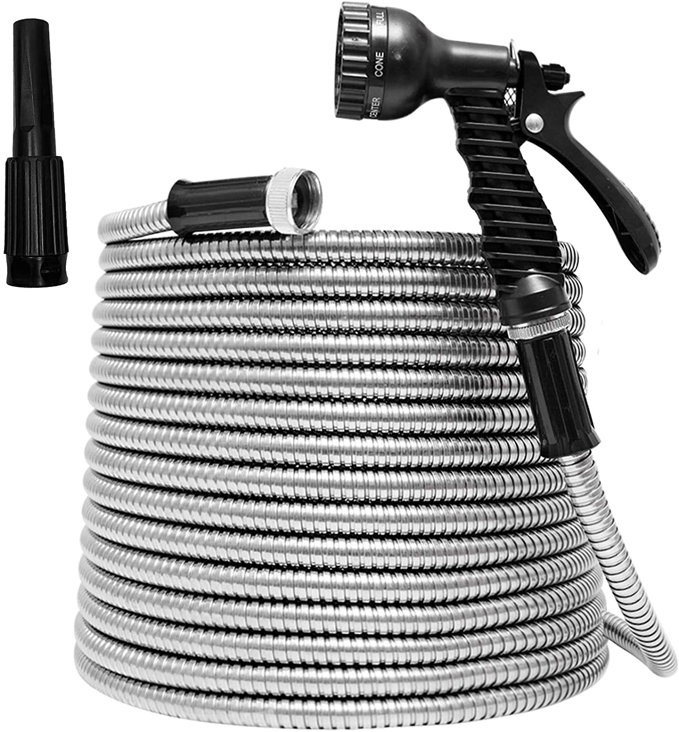 TUNHUI 100FT Heavy Duty Flexible Metal Garden Hose Stainless Steel Water Hose with 2 Free Nozzles Metal Hose Flexible Durable Kink Free and Easy to Store Outdoor Hose