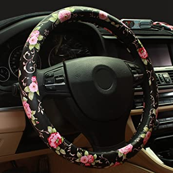 Deaowangluo Halloween Sugar Skulls Steering Wheel Cover for Women Anti Slip Auto Car Wrap Cover Accessories for Girl