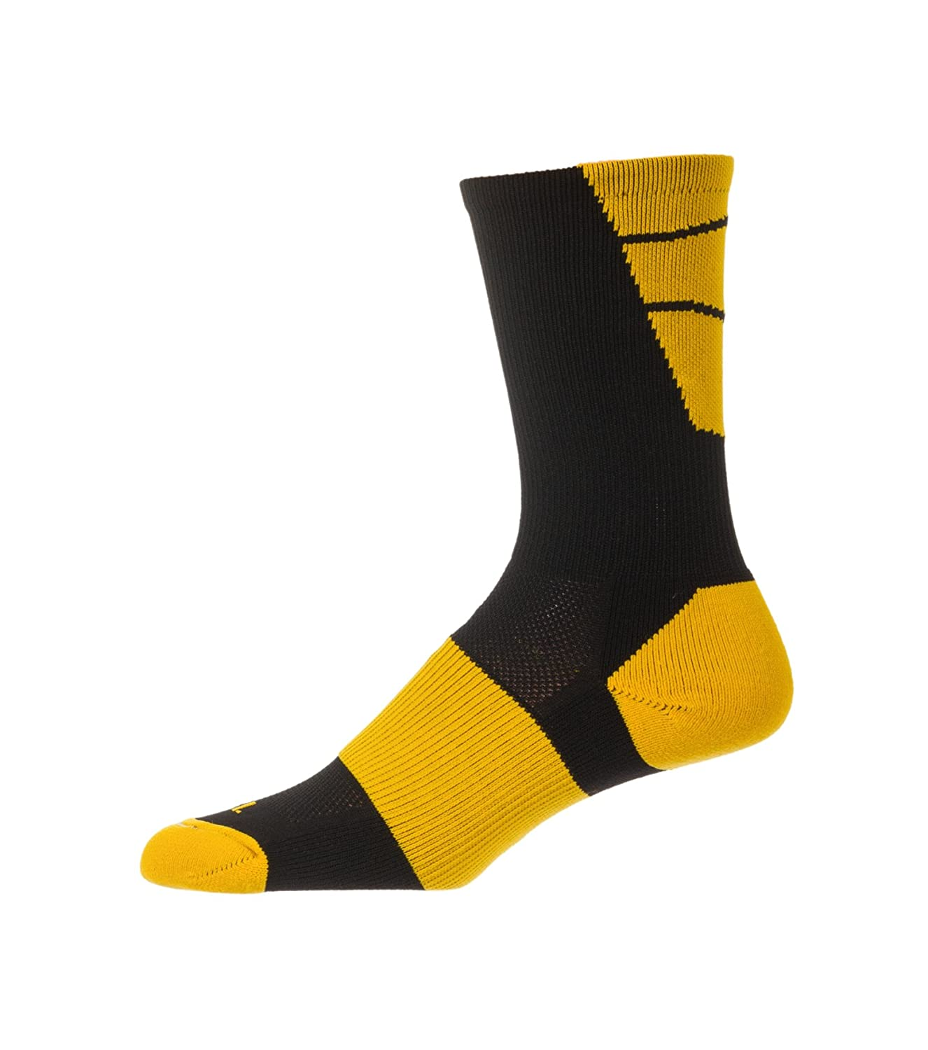 CSI Point Guard Performance Crew Socks Made In The USA Black/Ath Gold 6MAN10012