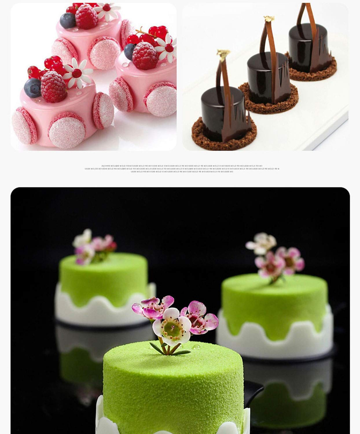 Silicone Mousse Cake Molds for Baking Brownie Chocolate Truffle Pudding Christmas Desserts,Nonstick, Easy Release, Food Grade Silicone,BPA Free,Set of 1 (3D Tall Cylinder) by JOHO (Image #5)