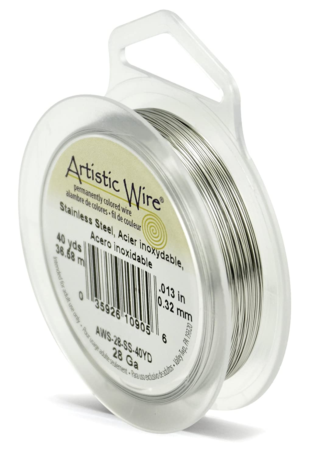 Artistic Wire 28 Gauge, Stainless Steel, 40 Yard : Artistic Wire 28 Gauge AWS-28-SS-40YD