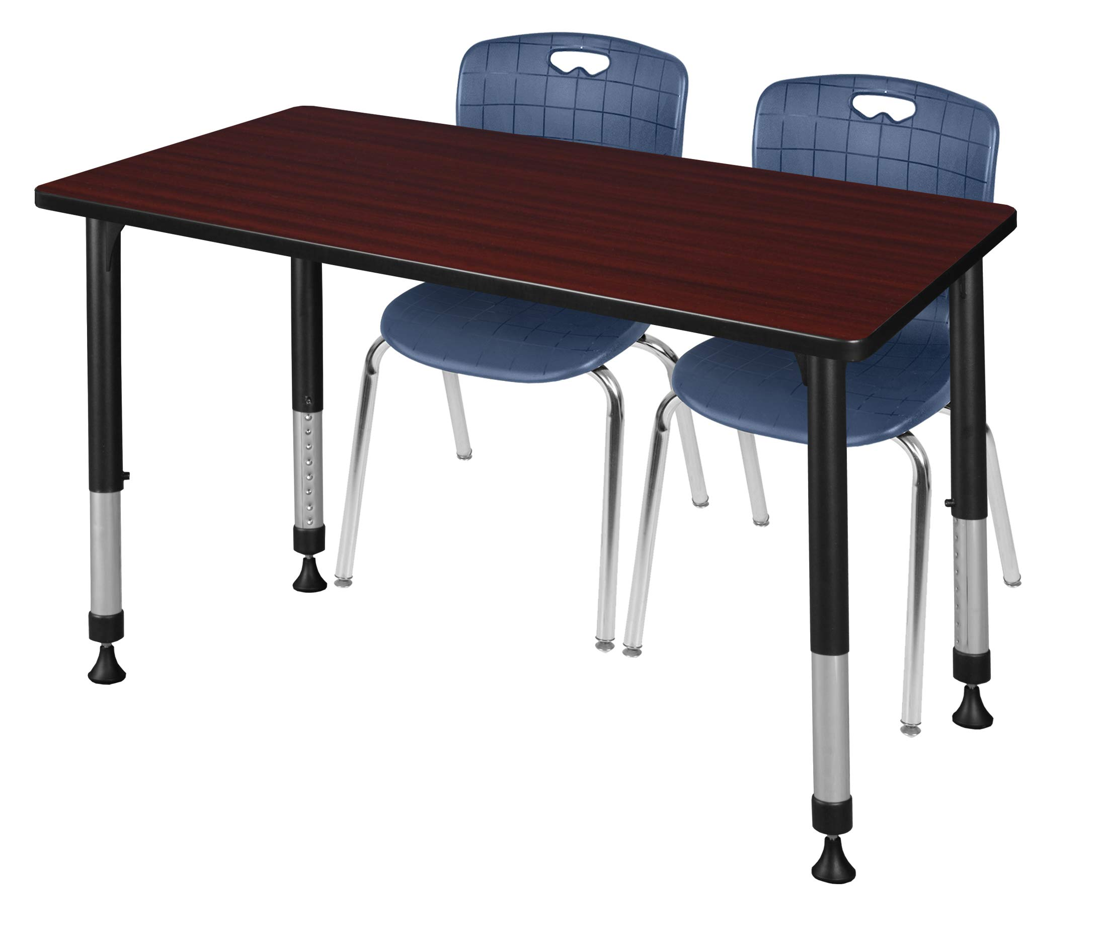 Regency MT4830MHAPBK40NV Kee Height Adjustable Classroom Table Set with Two 18'' Andy Chairs 48'' x 30'' Mahogany/Navy Blue
