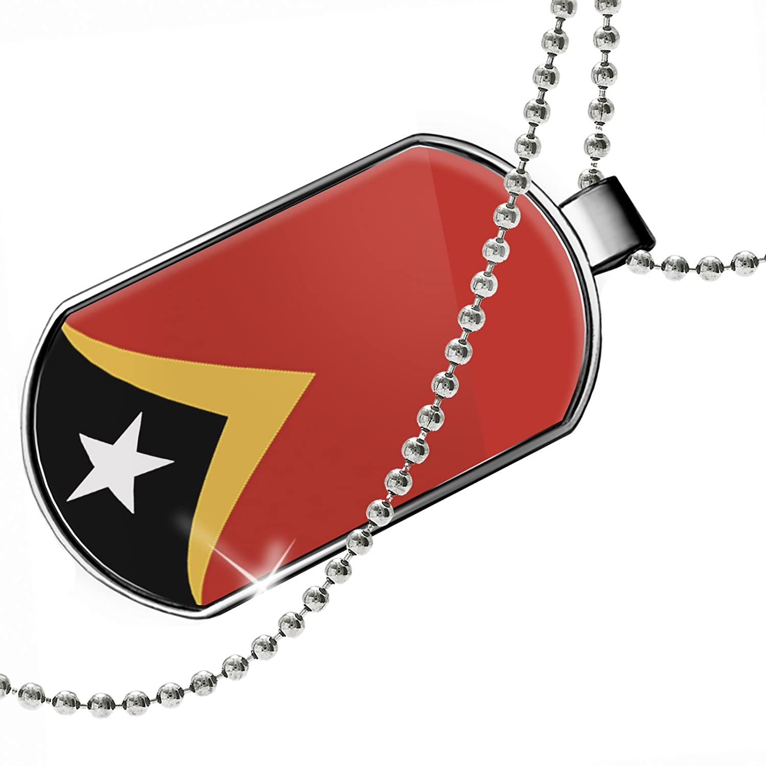 NEONBLOND Personalized Name Engraved Timor-Leste Flag Dogtag Necklace