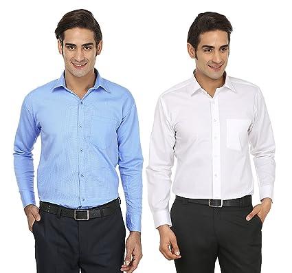 Focil Sky Blue White Formal Wear Combo Shirt For Men Pack Of 2
