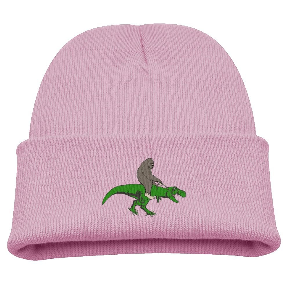Aiw Wfdnn Kids Beanie Hat Bigfoot Riding Dinosaur Cotton Winter Hat for Boys/Girls
