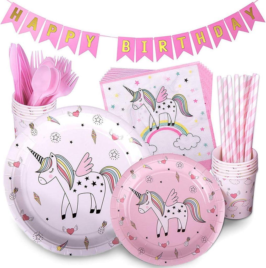 Tumao 98pcs Stoviglie all'unicorno Piatti Unicorno per Feste di Compleanno Tovaglia plastica...
