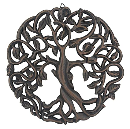 Dharmaobjects Handcrafted Wooden Celtic Tree Of Life Wall Decor Hanging Art Black