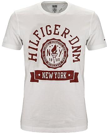 679f0166 Tommy Hilfiger Denim Federer Logo T-Shirt White (Large): Amazon.co.uk:  Clothing