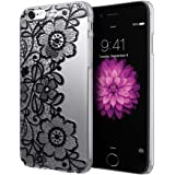 Custodia Cover per iPhone 6 / 6s , DDLBiz® copertura dura di plastica fiore floreale trasparente Custodia per iPhone 6 / 6s (nero)
