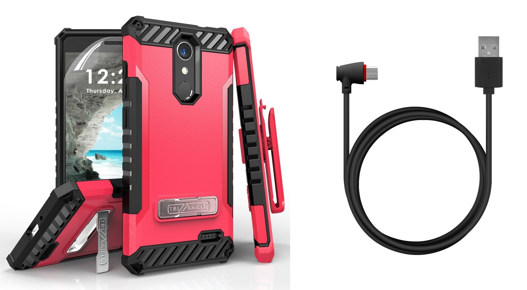 Tri-Shield Military Grade Case Bundle with Belt Clip Holster (Hot Pink/Black), [90 Degree/Right Angle] USB Type C Cable [4 Foot], Atom Cloth for ZTE Blade Spark, ZTE ZMAX One LTE, ZTE Grand X 4