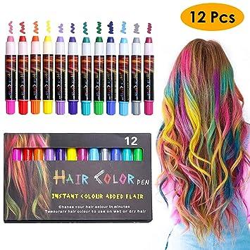 Amazon.com: EZCO 12 Color Temporary Hair Chalk Pens Crayon Salon ...