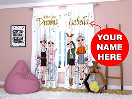 Amazoncom Factory4me Cute Curtains For Girls Personalized Custom