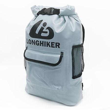 LONGHIKER Waterproof Backpack Dry Bags-Padded Shoulder Straps – Mesh Side Pockets-Easy Access Front Pocket
