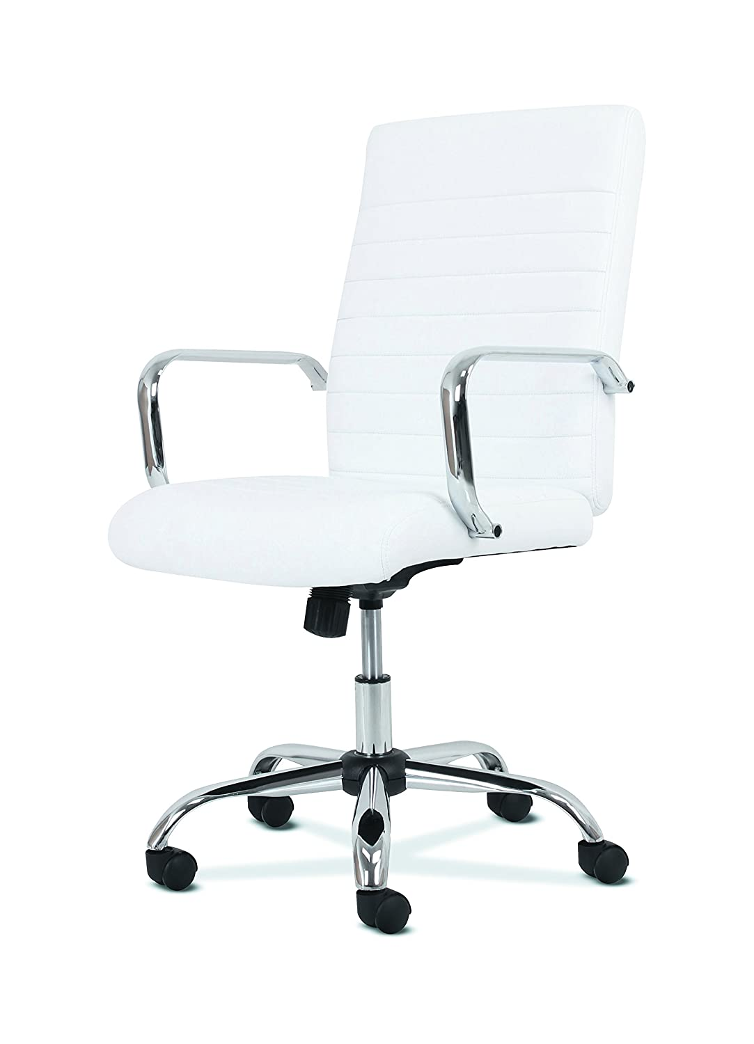 reputable site d8b33 84660 Sadie Executive Computer Chair- Fixed Arm for Office Desk, White Leather  with Chrome Accents