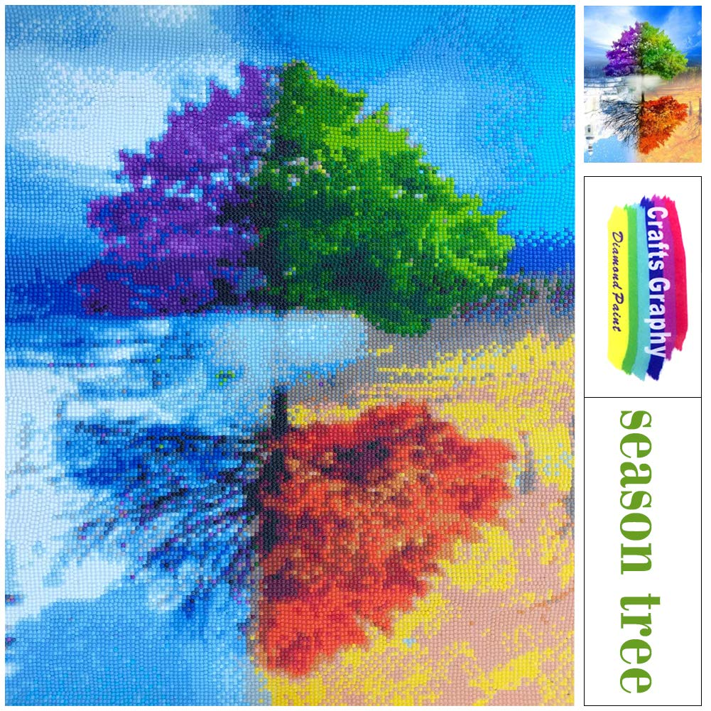Crafts Graphy Paint with Diamonds Kits for Adults Full Drill Large Size 16 x 20 Inches Season Trees