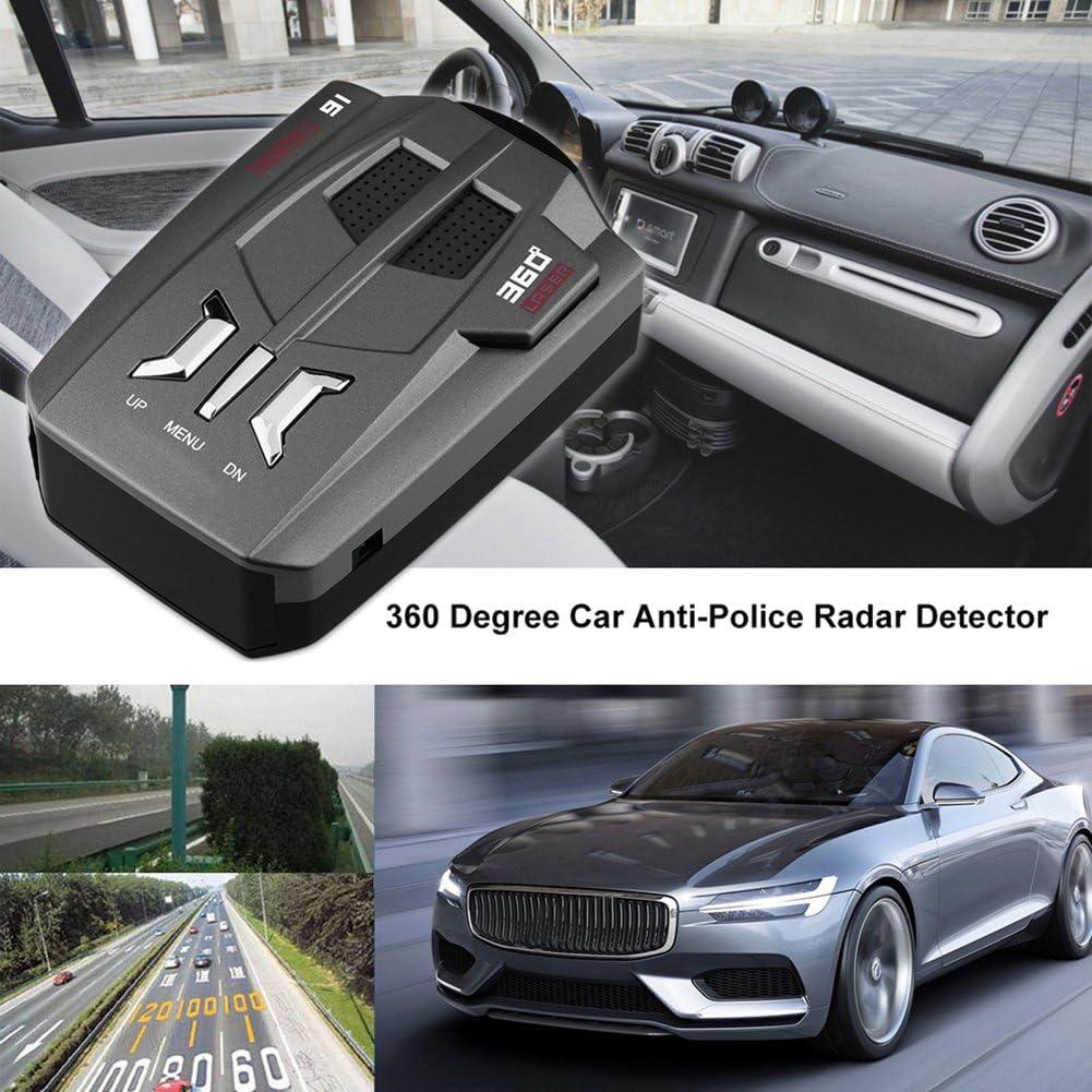 Livecity Voiture d/étecteur de radar anti Police v/éhicule de voiture Speed d/étecteur de radar 360 degr/és voix davertissement Gris argent/é gris argent/é Mini