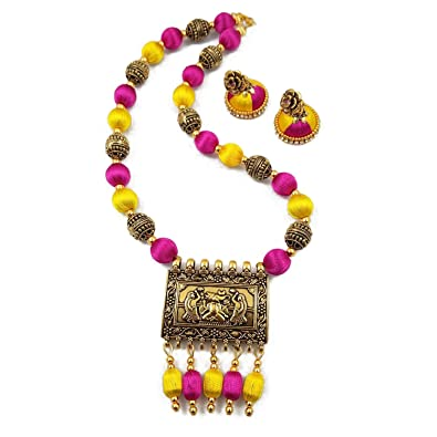 modern flower vibrant pendant azilaa thread at necklace full pink