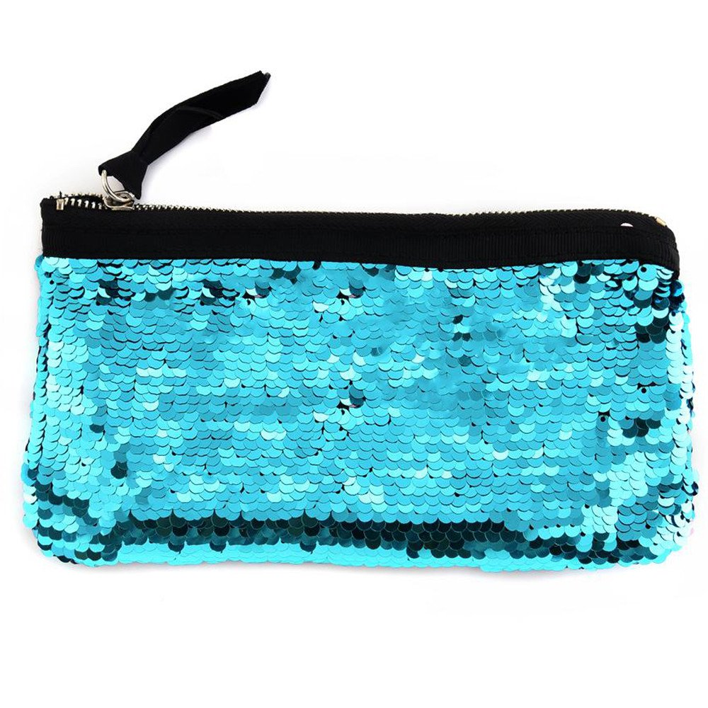 Clearance! Women Make-up Bag Double Color Sequins Coin Cards Holder Purse Wallet Pencil Pouch (J)
