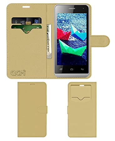 Acm Leather Window Flip Wallet Front  amp; Back Case Compatible with Micromax Bolt Q324 Mobile Cover Golden Mobile Accessories