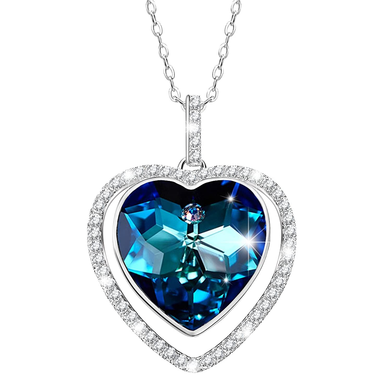 STAR SANDS Guarding Love Collar Forma de Corazón Azul para Mujer con