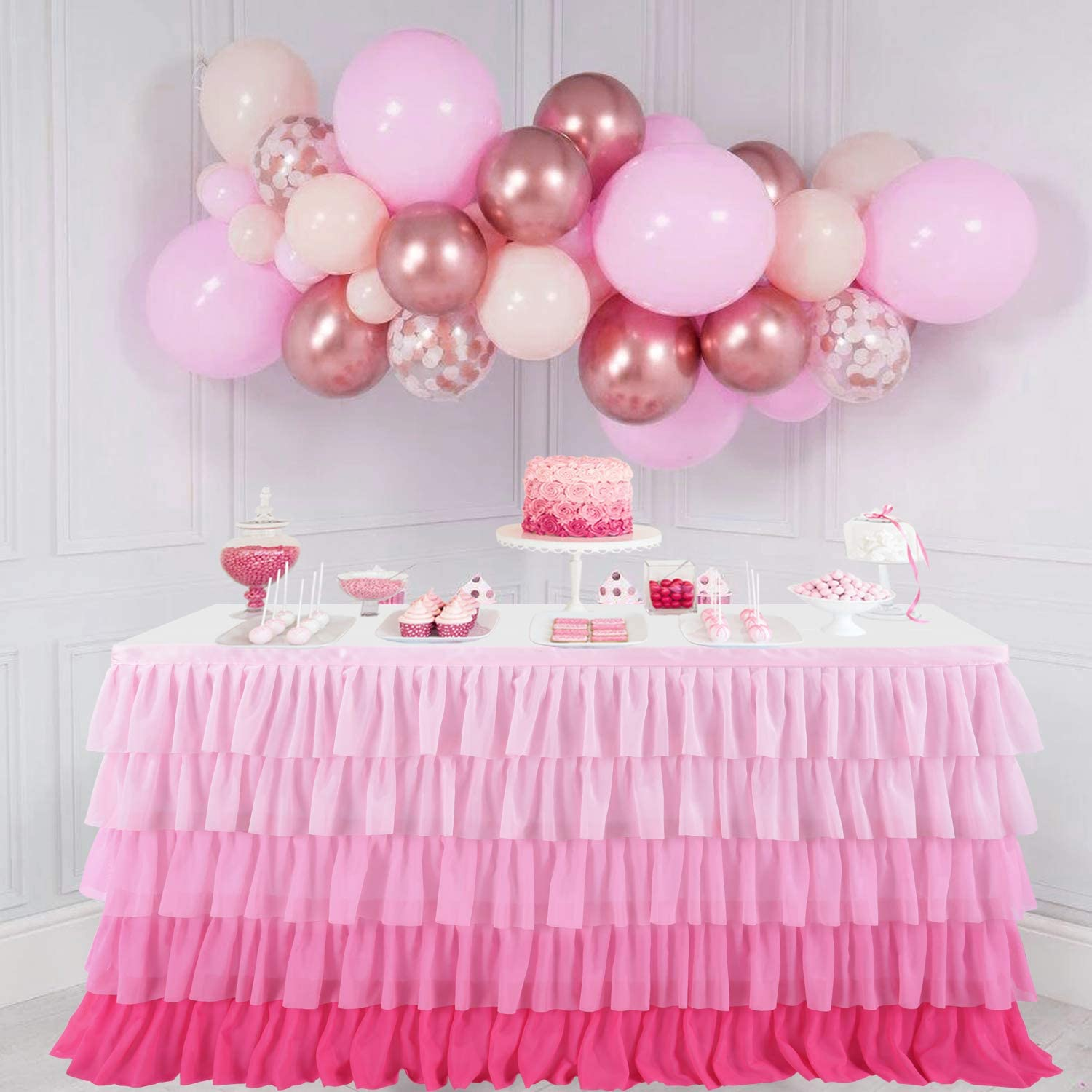 Pink Tablecloth Tutu Party Table Skirt for Rectangle Table 6ft Baby Shower Birthday Unicorn Home Decor (Gradient pink)