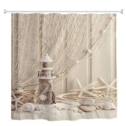 Amazon Com Broshan Nautical Seashell Decor Shower Curtain Set