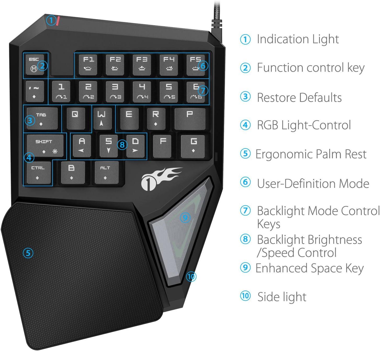 1byone teclado gaming mecánico, teclado profesional de una ...