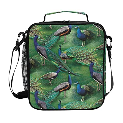 3dd671f9a930 Amazon.com: WILD WINGS PAGENT OF COLOR SCENIC PEACOCK Lunch Bag ...