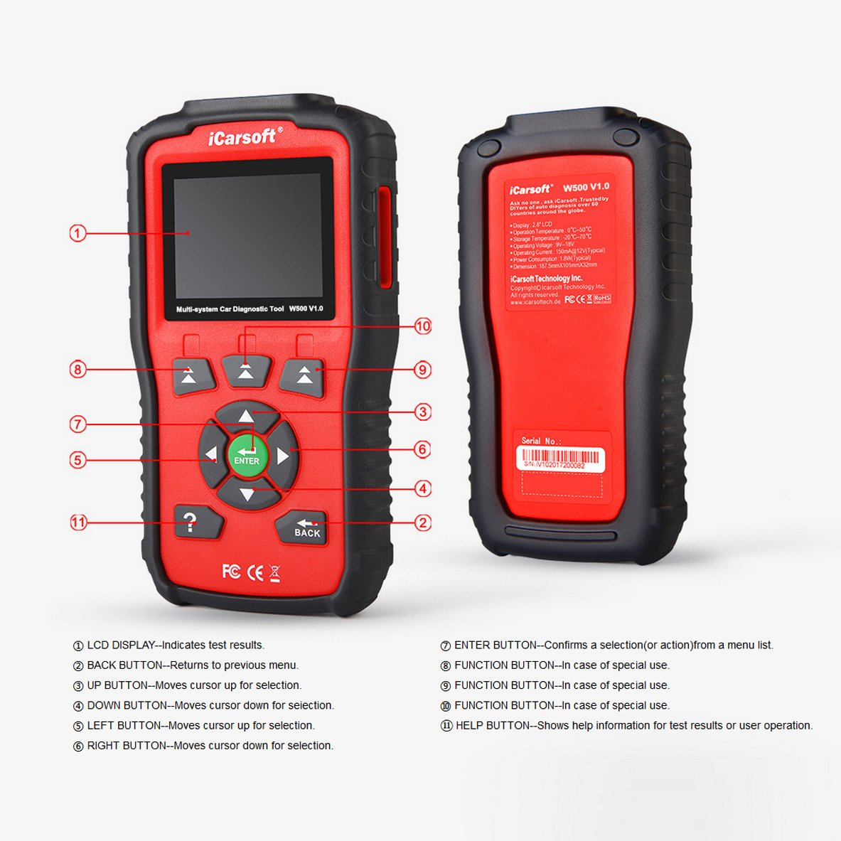 iCarsoft Auto Diagnostic Scanner W500 V1.0 for Audi/VW/Seat/Skoda with ABS Scan,Oil Service Reset ect by iCarsoft (Image #2)