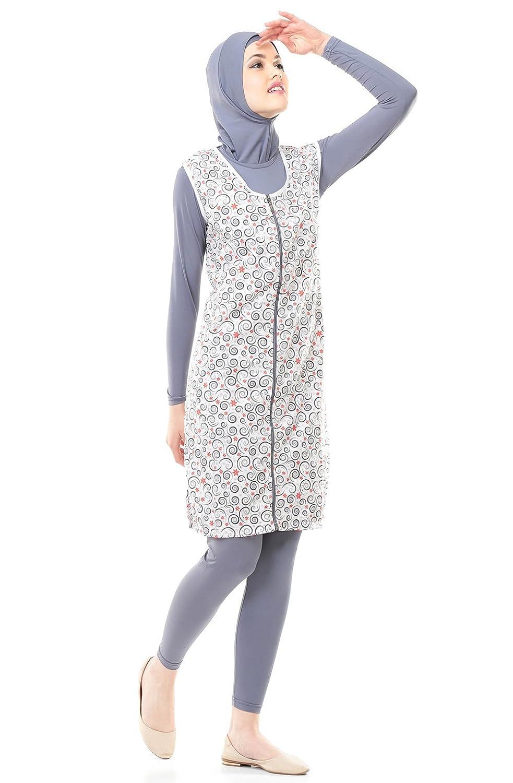 Full Cover Bescheidene Badebekleidung Modest Muslim Swimwear Beachwear Burkini für muslimische frauen (36-38, grau)