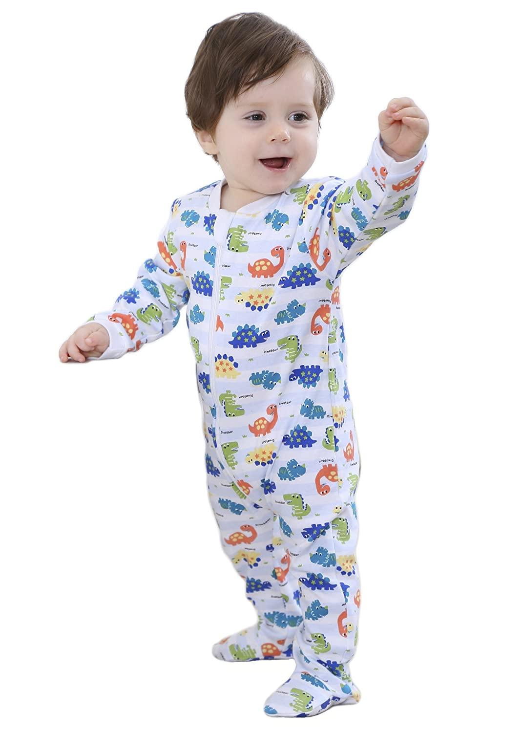 Marquebaby Baby Girls Boys Footed Pajama - 100% Cotton Zip Front Sleep and Play Sleeper 3-24 Months